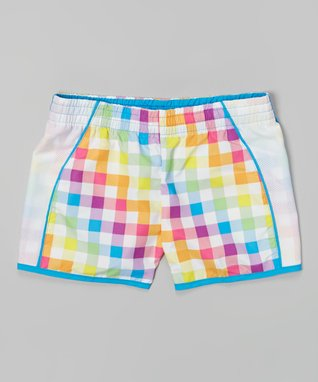 White & Turquoise Plaid Taffeta Running Shorts - Girls