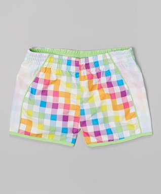 White & Lime Plaid Taffeta Running Shorts - Girls