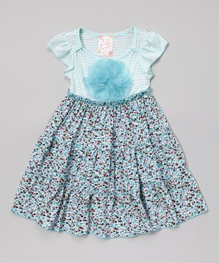 Turquoise Floral Dress - Toddler & Girls