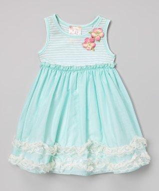 Mint Stripe Floral Dress - Toddler