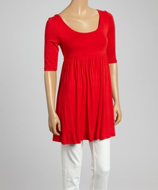 MOA Collection Red Empire-Waist Top