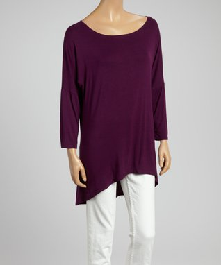 MOA Collection Purple Hi-Low Dolman Tunic