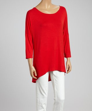 MOA Collection Red Hi-Low Dolman Tunic