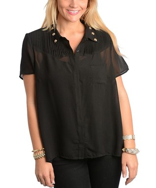 Black Stud-Collar Button-Up Top - Plus