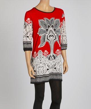Red Three-Quarter Sleeve Dress - Women