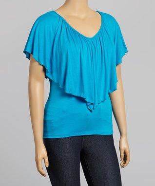 Turquoise Flounce V-Neck Top - Plus