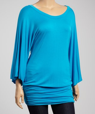 Turquoise Ruched Cape-Sleeve Tunic - Plus