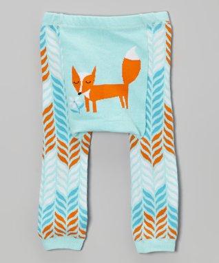 Doodle Pants Blue & Orange Fox Leggings - Infant