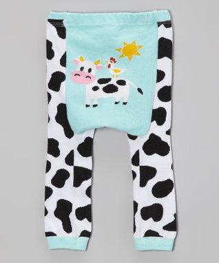 Doodle Pants Aqua Cow Leggings - Infant