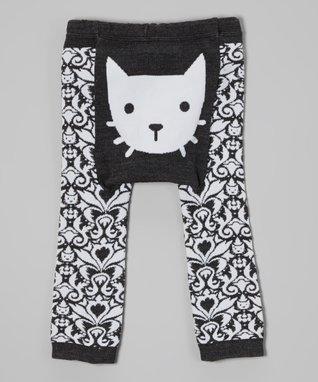 Doodle Pants Black & White Damask Kitty Leggings - Infant