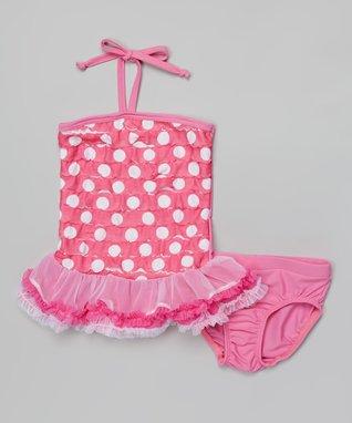 Pink Dot Ruffle Tankini - Infant, Toddler & Girls