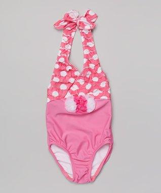 Pink Dot Halter One-Piece - Girls