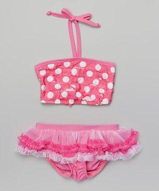 Pink Dot Ruffle Skirted Bikini - Infant, Toddler & Girls