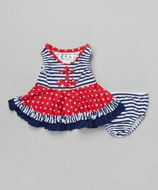 Navy & Red Nautical Bathing Beauty Tankini - Infant