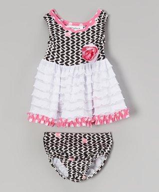 Pink & Black Hearts Bathing Beauty Tankini - Infant