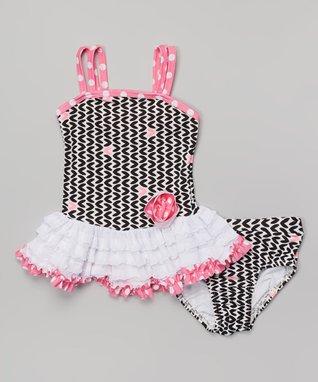 Pink & Black Hearts Tankini - Infant, Toddler & Girls