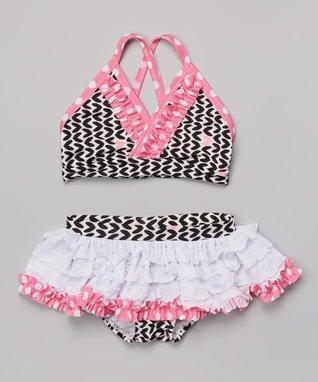 Pink & Black Hearts Skirted Bikini - Infant, Toddler & Girls
