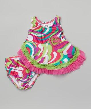 Rainbow Wavy Bathing Beauty Tankini - Infant