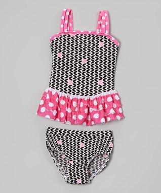 Black & Pink Polka Dot Ruffle Tankini - Infant, Toddler & Girls