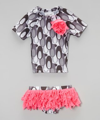 Charcoal & Fuchsia Ruffle Rashguard & Bottoms - Toddler & Girls
