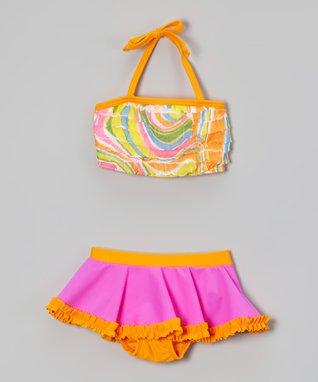 Orange & Fuchsia Swirl Bikini - Toddler & Kids
