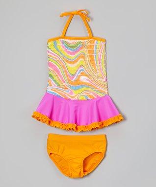 Orange & Fuchsia Swirl Tankini - Toddler & Girls
