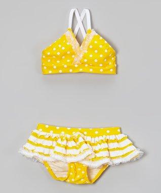 Yellow Polka Dot Ruffle Bikini - Toddler & Girls