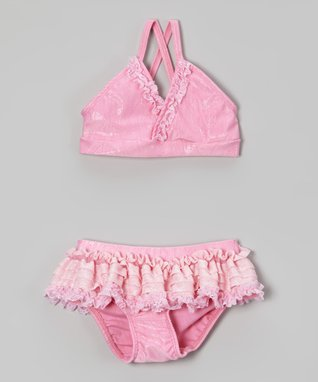 Rose Ruffle Shimmer Bikini - Toddler & Girls