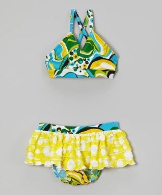 Blue & Yellow Floral Ruffle Bikini - Toddler & Girls