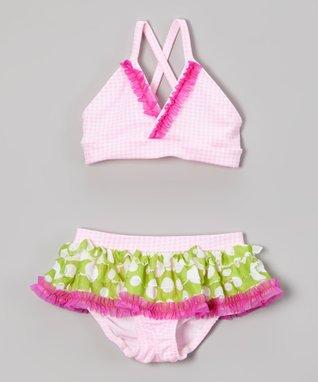 Pink Gingham Ruffle Bikini - Toddler & Girls