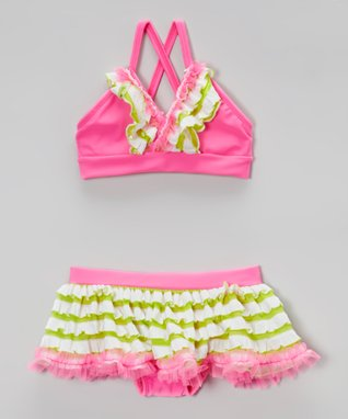 Neon Pink Ruffle Bikini - Toddler & Girls