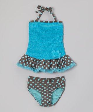 Turquoise Polka Dot Ruffle Tankini - Toddler & Girls