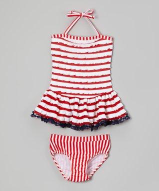 Red & White Stripe Ruffle Tankini - Toddler & Girls
