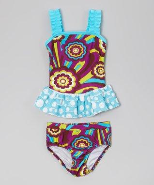 Purple Floral Ruffle Tankini - Toddler & Girls