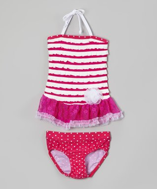 Magenta Polka Dot Tankini - Toddler & Girls