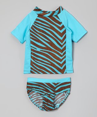 Turquoise Zebra Rashguard & Bottoms - Toddler & Girls