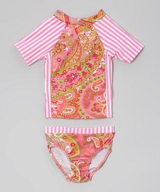 Fuchsia Paisley Rashguard & Bottoms - Toddler & Girls