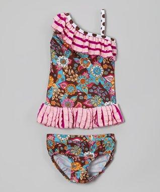 Brown Floral Ruffle Asymmetrical Tankini - Toddler & Girls
