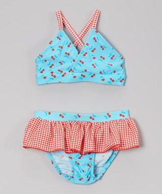 Turquoise Cherry & Gingham Ruffle Bikini - Toddler & Girls