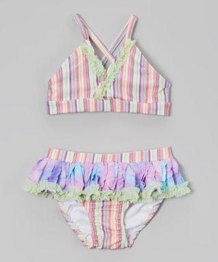 Purple Stripe Ruffle Bikini - Toddler & Girls