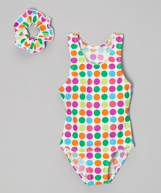 Pink & Orange Polka Dot One-Piece & Scrunchie - Toddler & Girls
