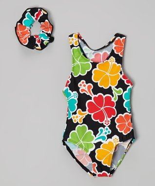 Black & Orange Floral One-Piece & Scrunchie - Toddler