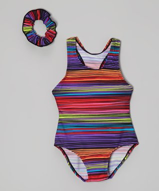 Blue & Orange Stripe One-Piece & Scrunchie - Girls