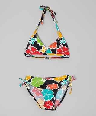Black & Red Floral Bikini - Girls