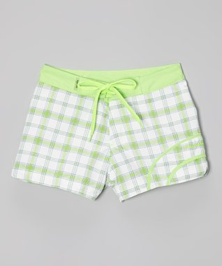 Lime Plaid Swim Shorts - Girls