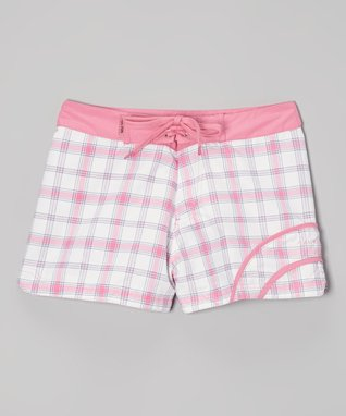 Pink Plaid Swim Shorts - Girls