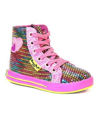 Western Chief Pink  Rainbow Glitz Hi-Top Sneaker