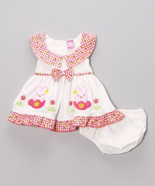 Real Love Pink Butterfly Poplin Dress Set - Infant