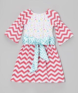 Pink & Blue Polka Dot Peasant Dress - Toddler & Girls