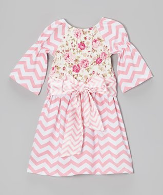 Pink Roses Zigzag Peasant Dress - Toddler & Girls